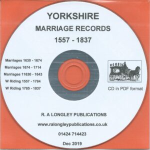 Yorkshire Marriage Records 1557 – 1837 [CD]