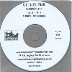 St. Helens, Bishopsgate, Parish Records 1575 – 1813 [CD]