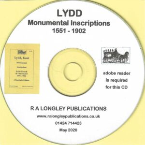 Lydd [Kent] Monumental Inscriptions 1551 – 1902 CD