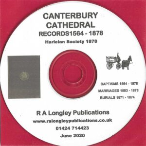 Canterbury Cathedral Registers 1564 – 1878 [CD]