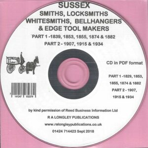 Sussex Blacksmiths etc covering 1839 to 1934 [CD]
