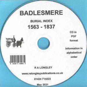 Badlesmere, Kent, Burial Index 1563 – 1837 [CD]