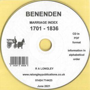 Benenden Marriage Index 1701 – 1836 [CD]