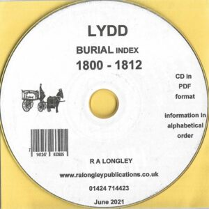 Lydd, Kent, Burial Index 1800 – 1812 [CD]