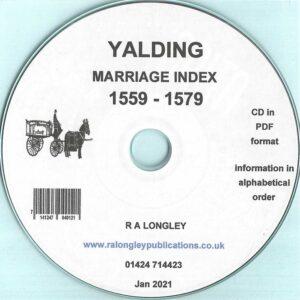 Yalding Marriage Index 1559 – 1579 [CD]