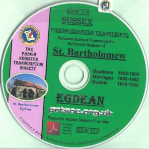 Egdean, Sussex, Parish Records 1630 – 1902 [CD]