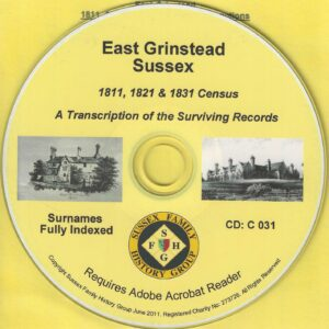 East Grinstead Census, Sussex [1811, 1821 and 1931] CD